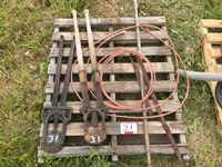 Pallet of Calf Pullers, Dehorners, and Lariat